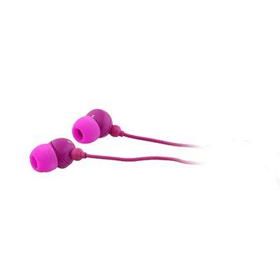 אוזניות סיליקון עם מיקרופון - ורוד