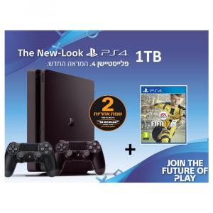מארז PS4 סלים+משחק FIFA+שני בקרים אלחוטיים