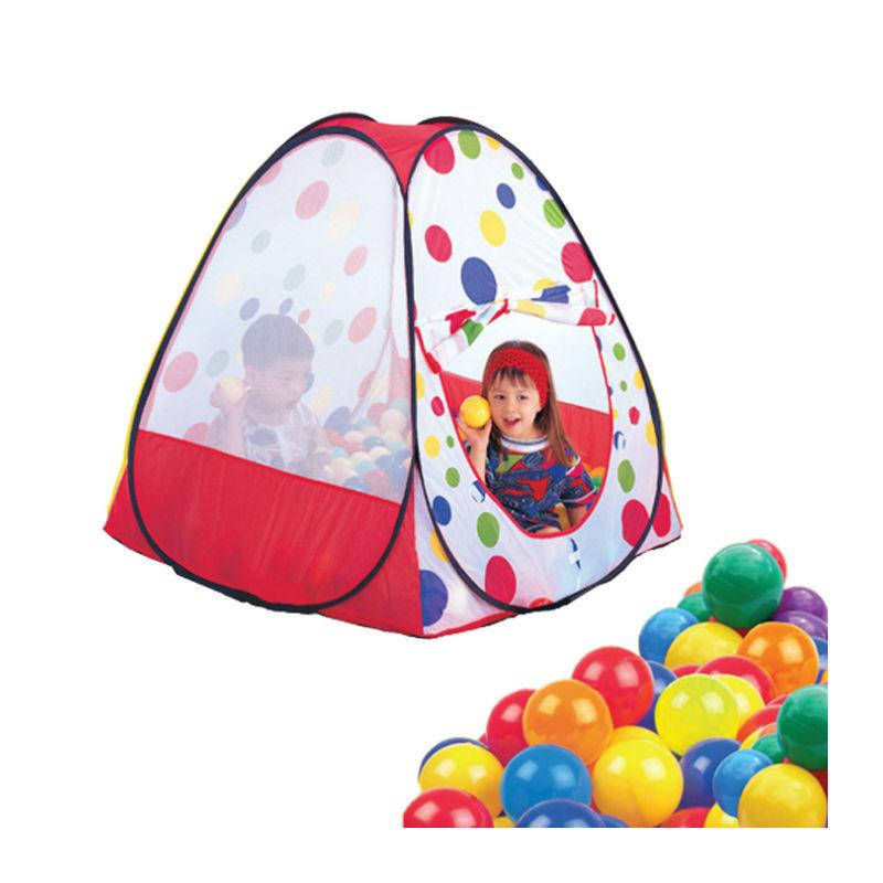 אוהל משחק עם מנהרה ו-100 כדורים