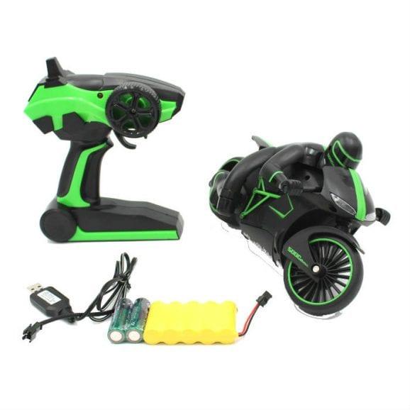 אופנוע עם שלט לילדים - שחור ירוק