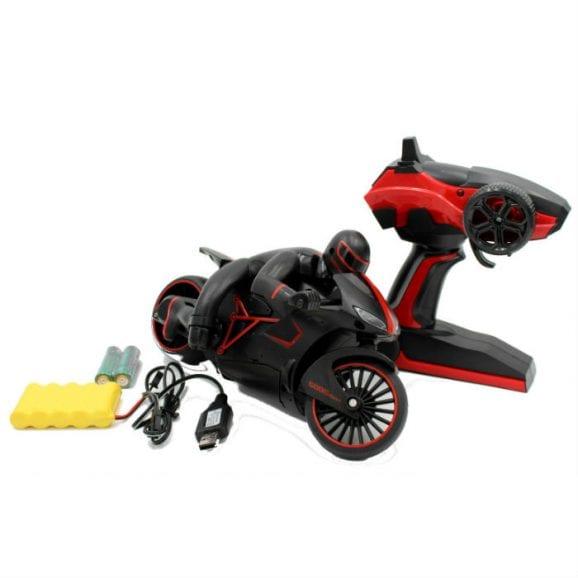 אופנוע עם שלט לילדים - שחור אדום