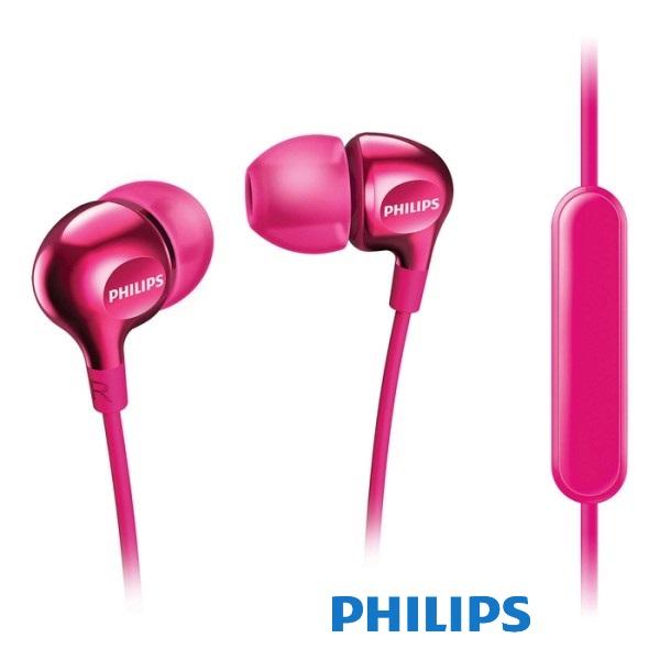 אוזניות סיליקון ומיקרופון פיליפס ורוד