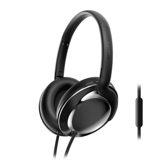 אוזניות מעוצבות עם מיקרופון - שחור