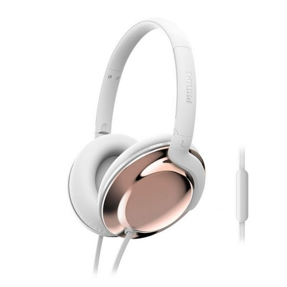 אוזניות מעוצבות עם מיקרופון - זהב לבן