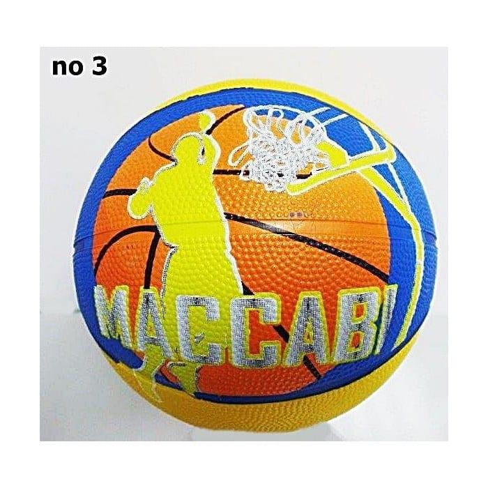 """כדורסל מס' 3 מכבי ת""""א לוגו עם שחקן וכדור כתום"""