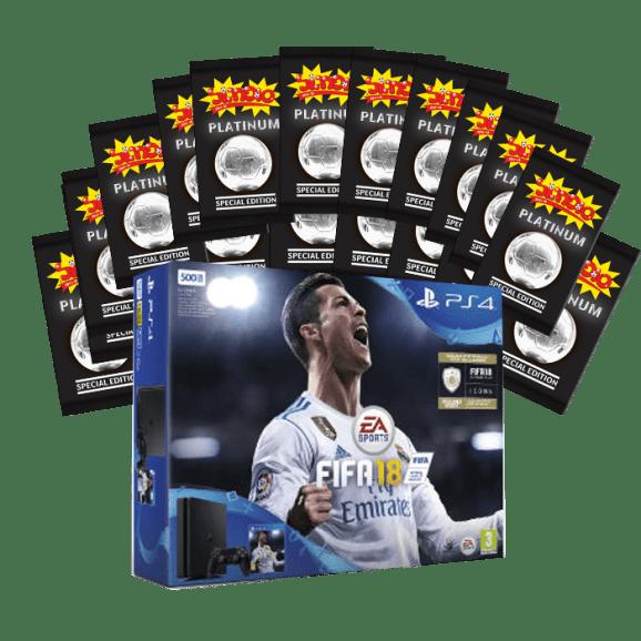 PS4 סוני פלייסטיישן 4 - 500 ג'יגה כולל שלט ומשחק פיפא 2018+מעטפות פלטינום