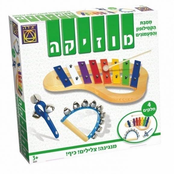 משחק 3 ב-1 כלי נגינה קסילופון ופעמונים