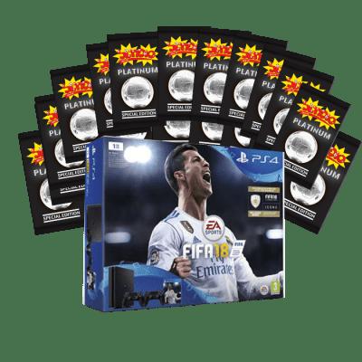 PS4 4+שני בקרים+פיפא 2018+מעטפות פלטינום