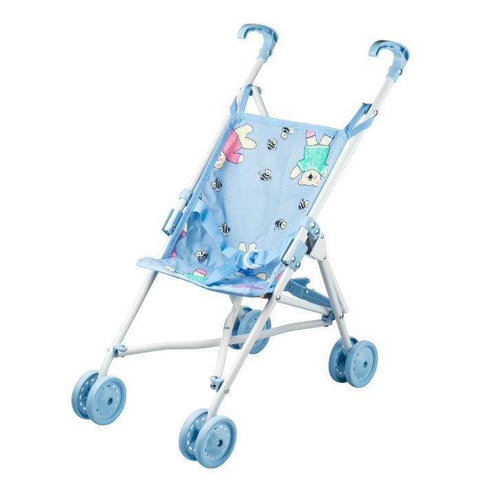 עגלת בובה 4 גלגלים כחולה
