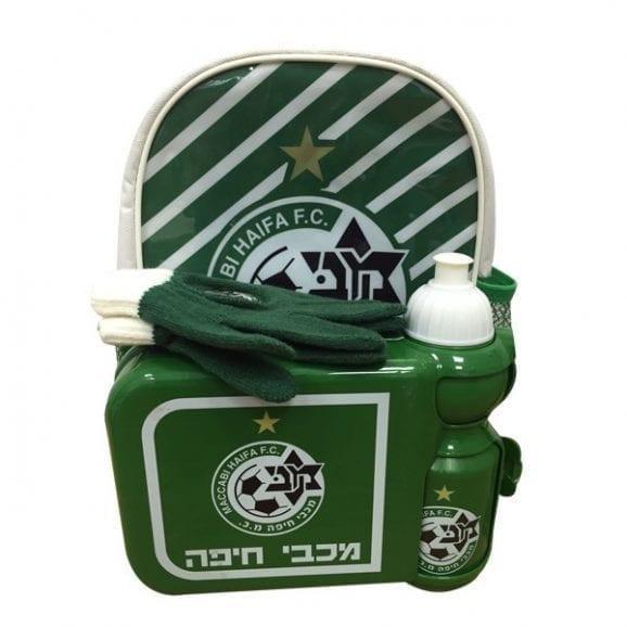עודפים - תיק גן וקופסאת אוכל עם בקבוק מכבי חיפה
