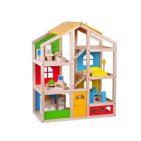 בית בובות מעץ מאובזר