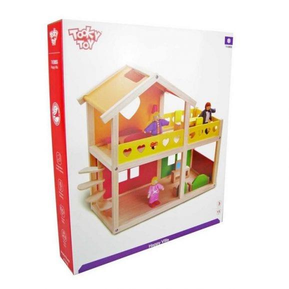בית בובות בינוני מעץ מאובזר לילדים