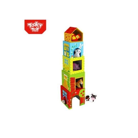 מגדל קוביות עם חיות מעץ 10 חלקים