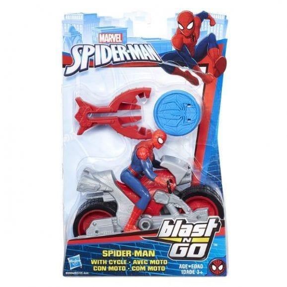 ספיידרמן על אופנוע עם רובה מטבעות (כחול אדום)
