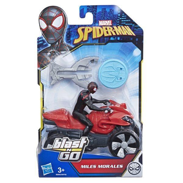 ספיידרמן על אופנוע עם רובה מטבעות (שחור אדום)