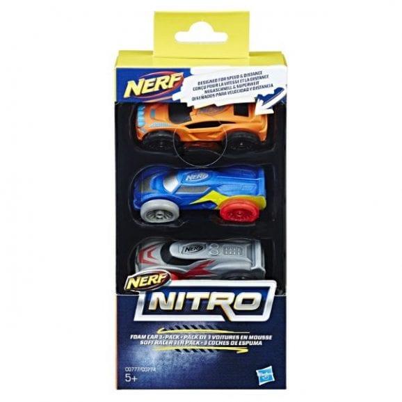 סט מכוניות ספוג נרף - NERF (כתום, כחול, אפור)