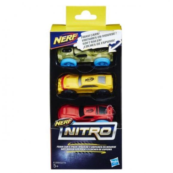 סט מכוניות ספוג נרף - NERF (ירוק, צהוב, אדום)