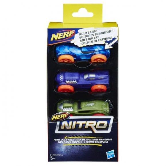 סט מכוניות ספוג נרף - NERF (כחול, סגול, ירוק)