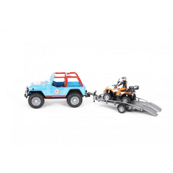 עודפים - ג'יפ רנגלר שטח כחול לילדים + נהג + עגלה וטרקטורון