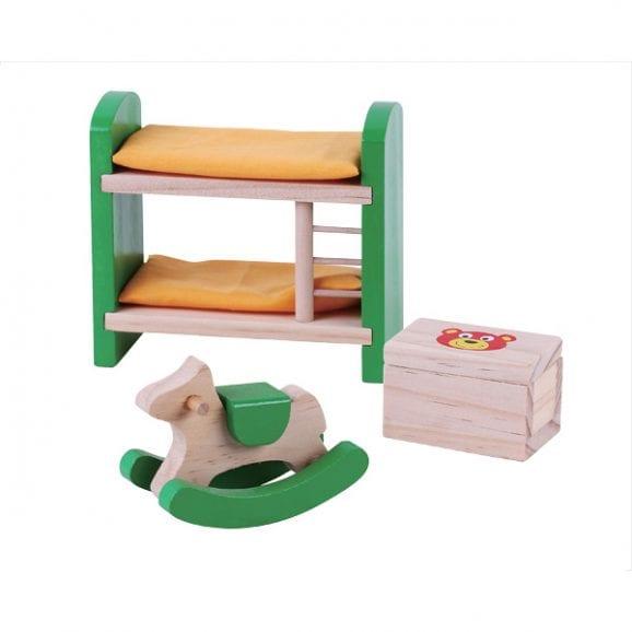 חדר ילדים מעץ - ריהוט לבית בובות