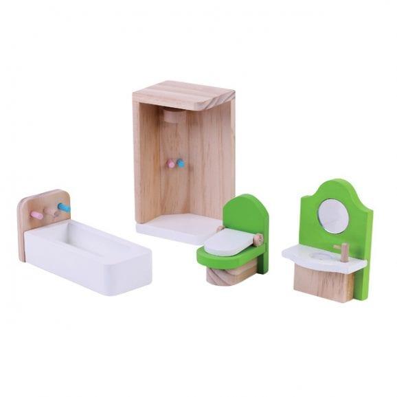 חדר מקלחת מעץ -ריהוט לבית בובות