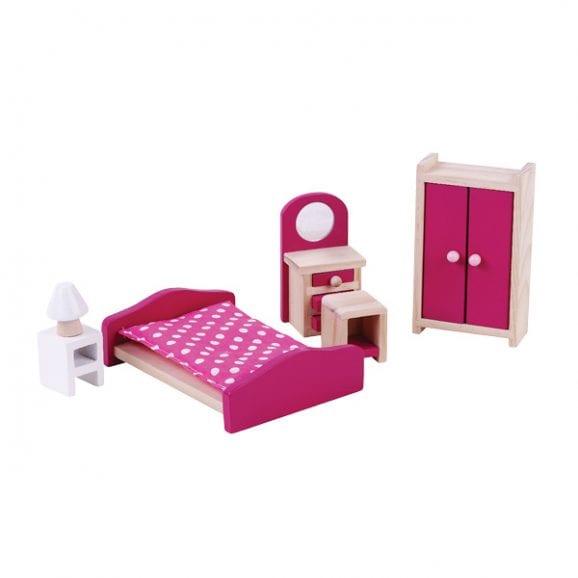 חדר שינה מעץ - ריהוט לבית בובות