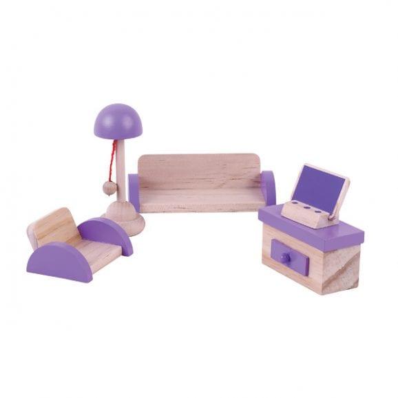 פינת ישיבה -סלון  מעץ -ריהוט לבית בובות