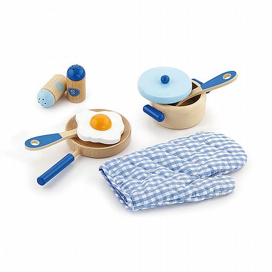 ויגה סט כלי מטבח + כפפה כחול לילדים