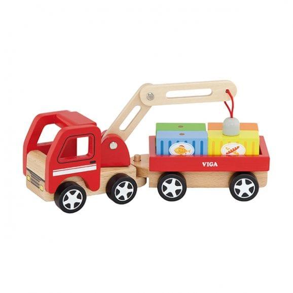ויגה משאית מנוף מעץ לילדים