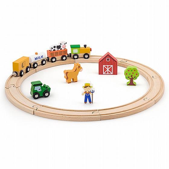 ויגה סט רכבת עץ חווה 9 חלקים